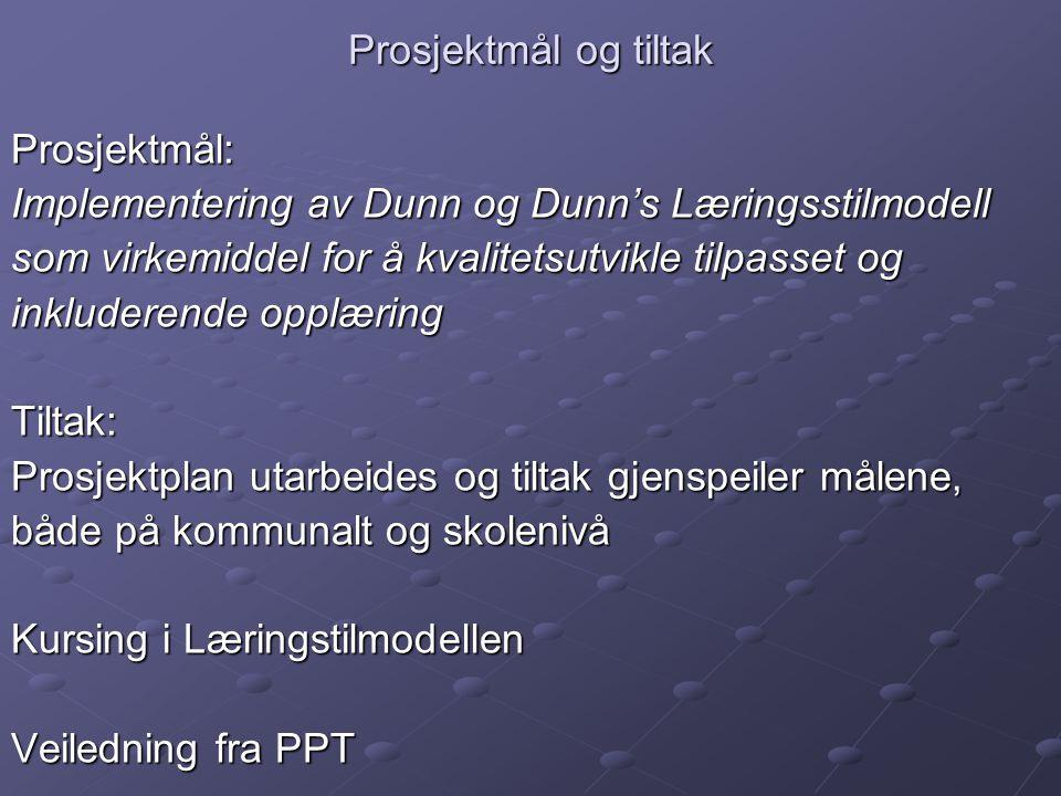Prosjektmål og tiltak Prosjektmål: Implementering av Dunn og Dunn's Læringsstilmodell som virkemiddel for å kvalitetsutvikle tilpasset og inkluderende