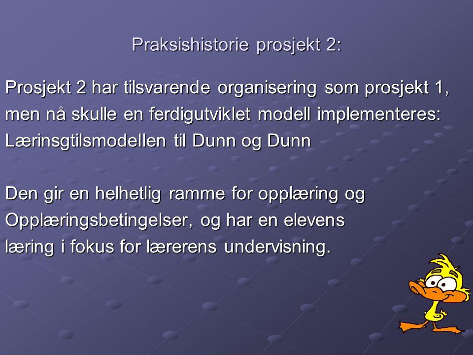 Praksishistorie prosjekt 2: Prosjekt 2 har tilsvarende organisering som prosjekt 1, men nå skulle en ferdigutviklet modell implementeres: Lærinsgtilsm