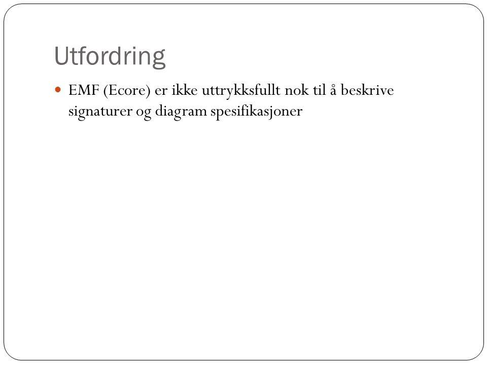 Utfordring EMF (Ecore) er ikke uttrykksfullt nok til å beskrive signaturer og diagram spesifikasjoner