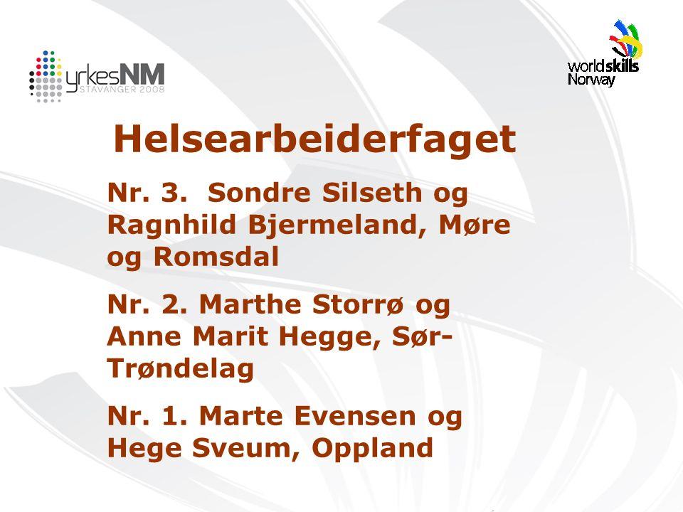 Helsearbeiderfaget Nr. 3. Sondre Silseth og Ragnhild Bjermeland, Møre og Romsdal Nr. 2. Marthe Storrø og Anne Marit Hegge, Sør- Trøndelag Nr. 1. Marte