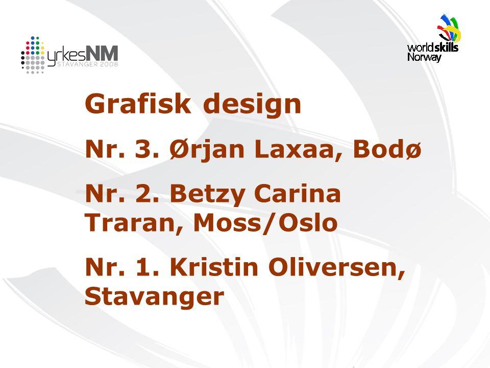 Grafisk design Nr. 3. Ørjan Laxaa, Bodø Nr. 2. Betzy Carina Traran, Moss/Oslo Nr. 1. Kristin Oliversen, Stavanger