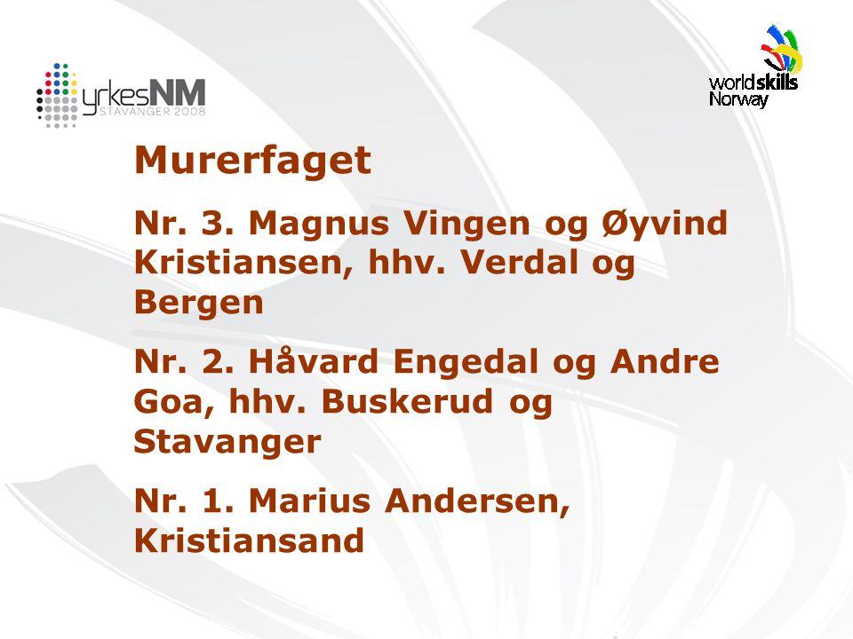 Murerfaget Nr. 3. Magnus Vingen og Øyvind Kristiansen, hhv. Verdal og Bergen Nr. 2. Håvard Engedal og Andre Goa, hhv. Buskerud og Stavanger Nr. 1. Mar