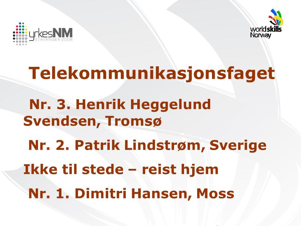 Telekommunikasjonsfaget Nr. 3. Henrik Heggelund Svendsen, Tromsø Nr. 2. Patrik Lindstrøm, Sverige Ikke til stede – reist hjem Nr. 1. Dimitri Hansen, M