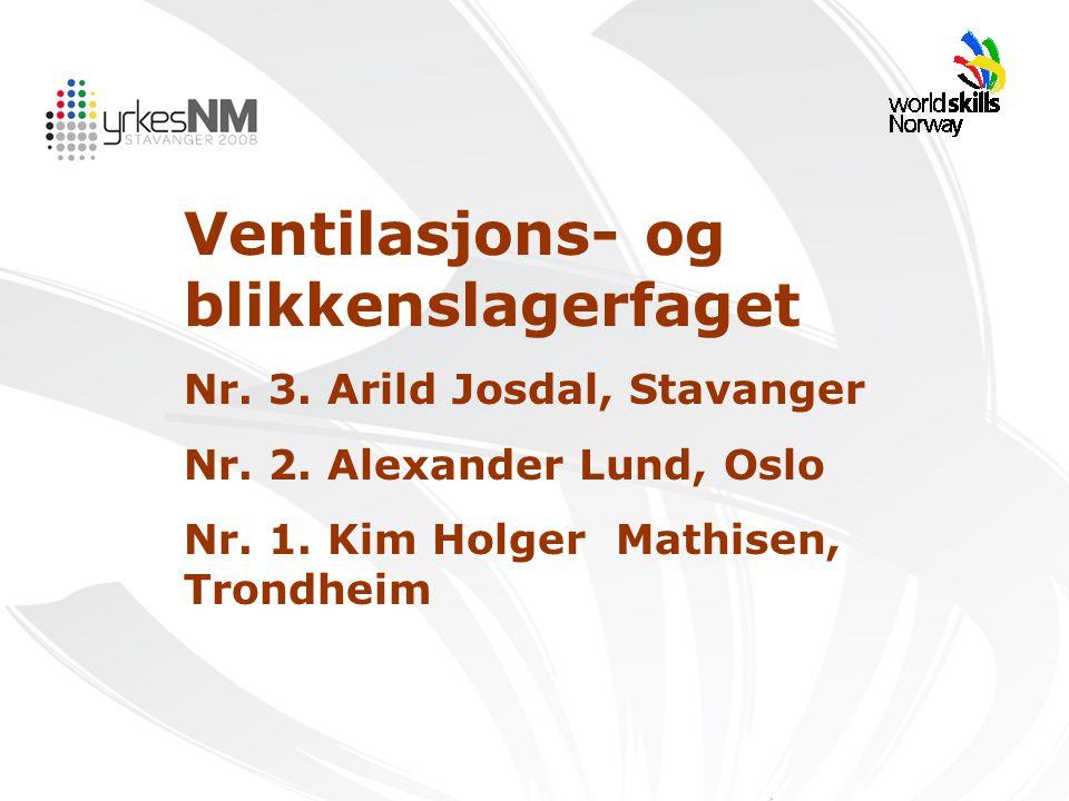 Ventilasjons- og blikkenslagerfaget Nr. 3. Arild Josdal, Stavanger Nr. 2. Alexander Lund, Oslo Nr. 1. Kim Holger Mathisen, Trondheim