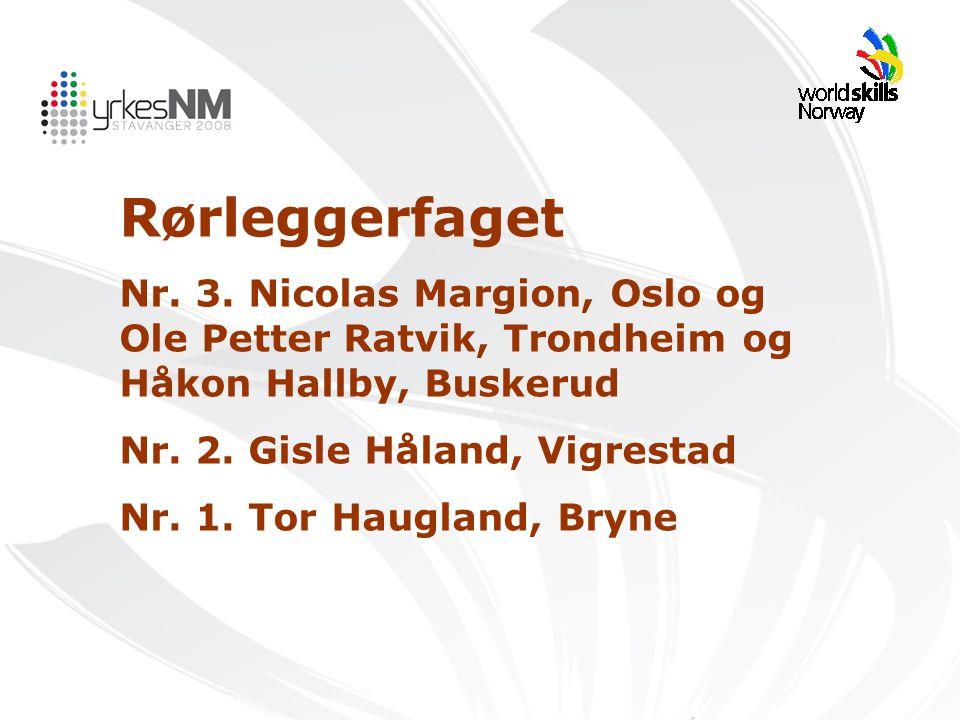 Rørleggerfaget Nr. 3. Nicolas Margion, Oslo og Ole Petter Ratvik, Trondheim og Håkon Hallby, Buskerud Nr. 2. Gisle Håland, Vigrestad Nr. 1. Tor Haugla