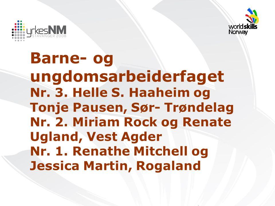 Barne- og ungdomsarbeiderfaget Nr. 3. Helle S. Haaheim og Tonje Pausen, Sør- Trøndelag Nr. 2. Miriam Rock og Renate Ugland, Vest Agder Nr. 1. Renathe