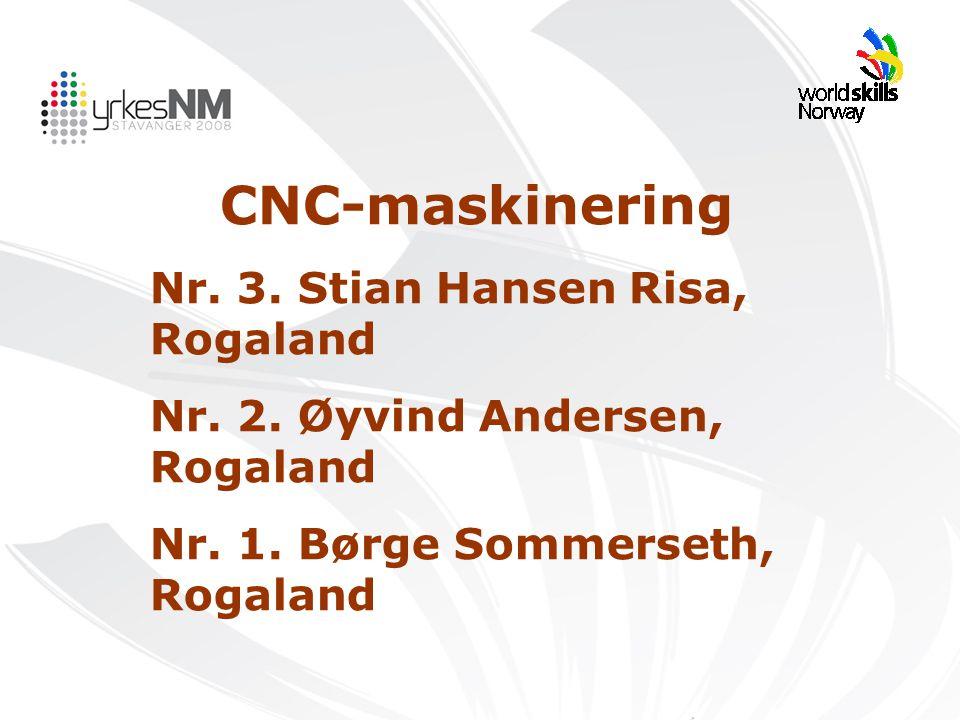CNC-maskinering Nr. 3. Stian Hansen Risa, Rogaland Nr. 2. Øyvind Andersen, Rogaland Nr. 1. Børge Sommerseth, Rogaland