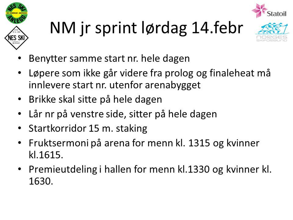 NM jr sprint lørdag 14.febr Benytter samme start nr.