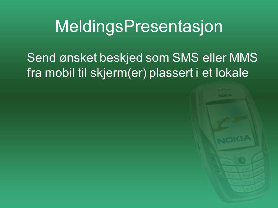 MeldingsPresentasjon Send ønsket beskjed som SMS eller MMS fra mobil til skjerm(er) plassert i et lokale