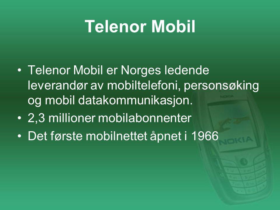 Telenor Mobil Telenor Mobil er Norges ledende leverandør av mobiltelefoni, personsøking og mobil datakommunikasjon.