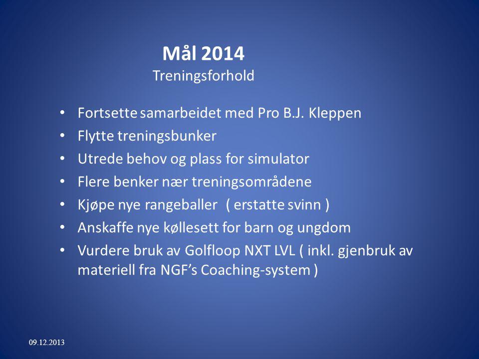 Mål 2014 Treningsforhold Fortsette samarbeidet med Pro B.J.