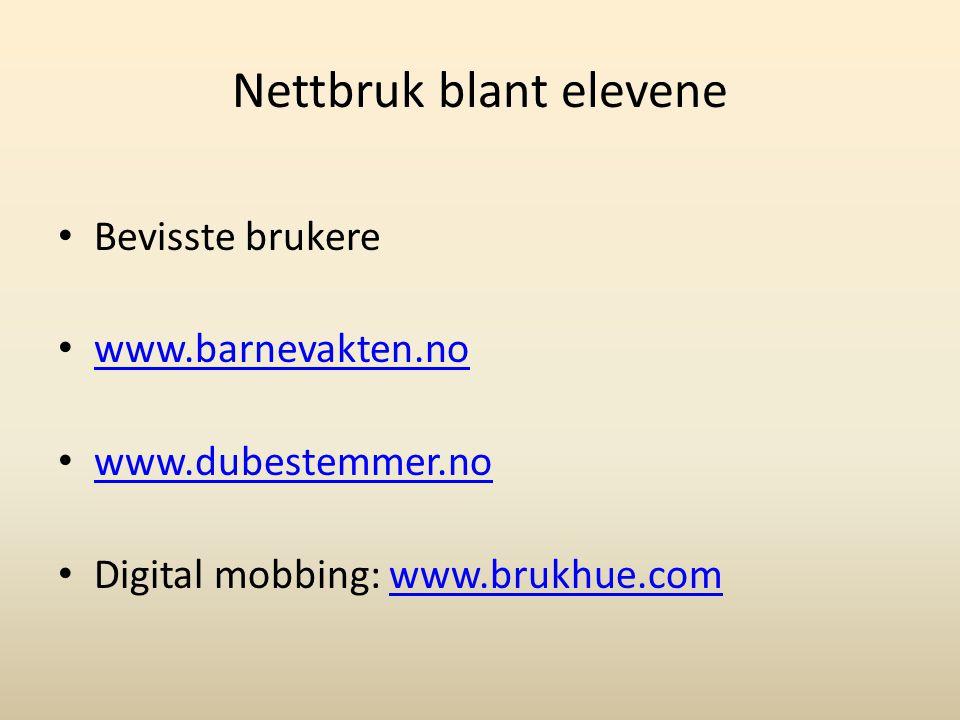 Nettbruk blant elevene Bevisste brukere www.barnevakten.no www.dubestemmer.no Digital mobbing: www.brukhue.comwww.brukhue.com