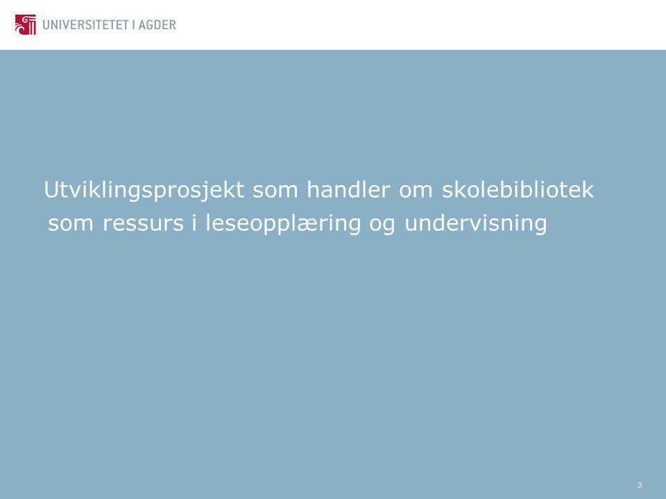 3 Utviklingsprosjekt som handler om skolebibliotek som ressurs i leseopplæring og undervisning