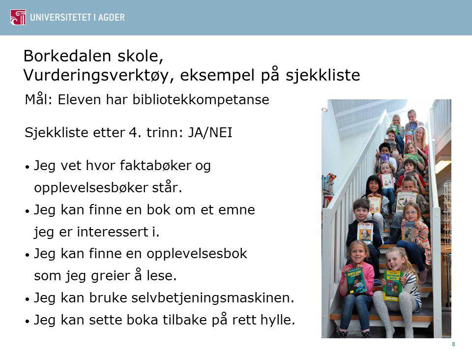 Borkedalen skole, Vurderingsverktøy, eksempel på sjekkliste Mål: Eleven har bibliotekkompetanse Sjekkliste etter 4.
