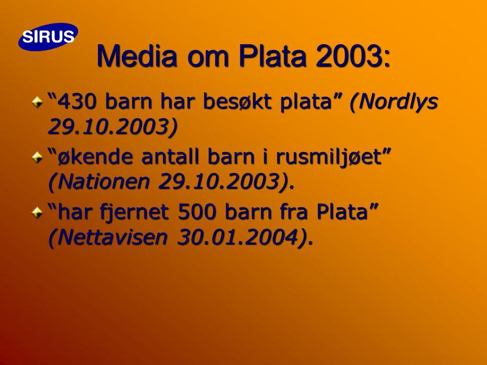 Media om Plata 2003: 430 barn har besøkt plata (Nordlys 29.10.2003) økende antall barn i rusmiljøet ( N ationen 29.10.2003).
