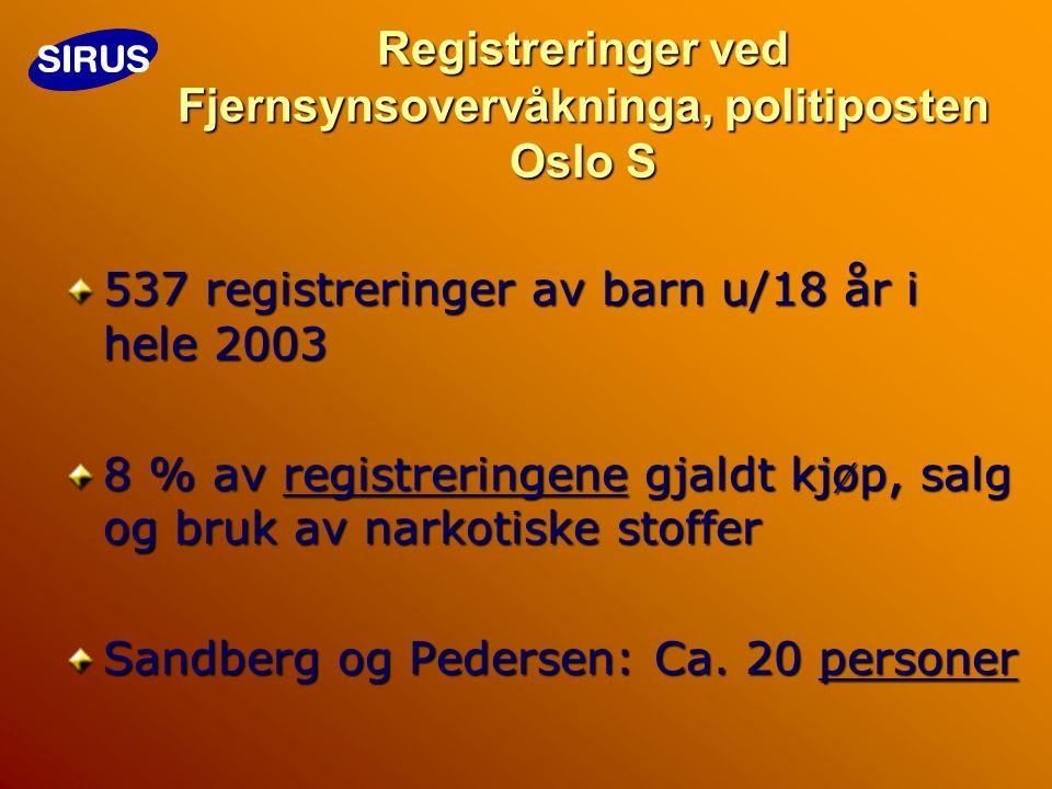 Registreringer ved Fjernsynsovervåkninga, politiposten Oslo S 537 registreringer av barn u/18 år i hele 2003 8 % av registreringene gjaldt kjøp, salg og bruk av narkotiske stoffer Sandberg og Pedersen: Ca.