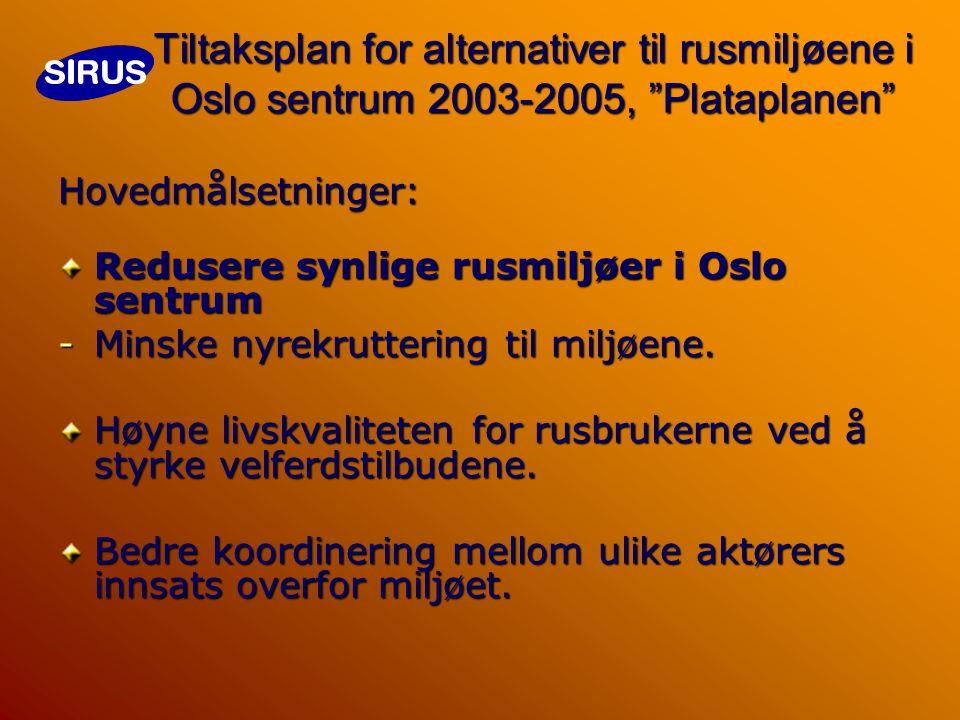 Tiltaksplan for alternativer til rusmiljøene i Oslo sentrum 2003-2005, Plataplanen Hovedmålsetninger: Redusere synlige rusmiljøer i Oslo sentrum -Minske nyrekruttering til miljøene.