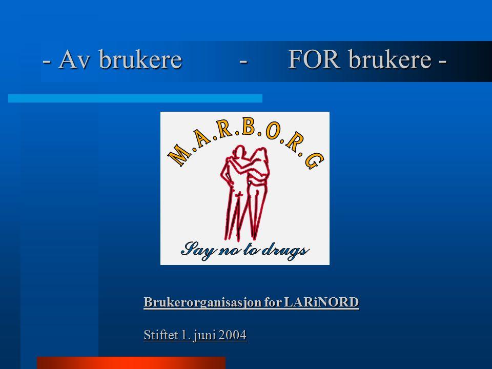 - Av brukere -FOR brukere - Brukerorganisasjon for LARiNORD Stiftet 1. juni 2004