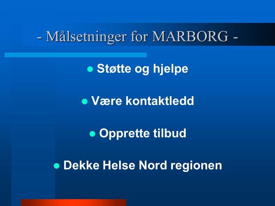 - Målsetninger for MARBORG - Støtte og hjelpe Være kontaktledd Opprette tilbud Dekke Helse Nord regionen