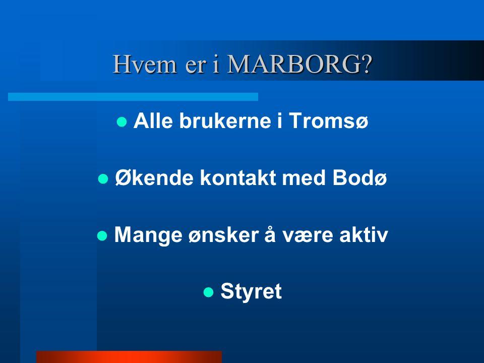 Hvem er i MARBORG Alle brukerne i Tromsø Økende kontakt med Bodø Mange ønsker å være aktiv Styret