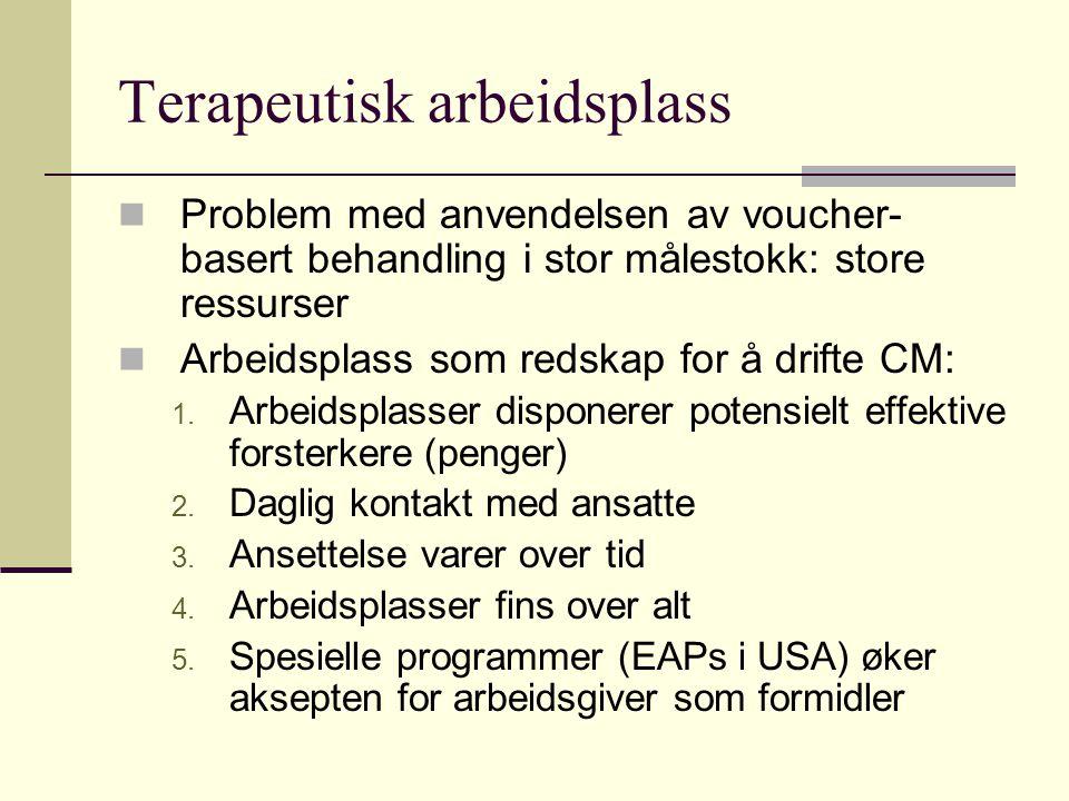Terapeutisk arbeidsplass Problem med anvendelsen av voucher- basert behandling i stor målestokk: store ressurser Arbeidsplass som redskap for å drifte