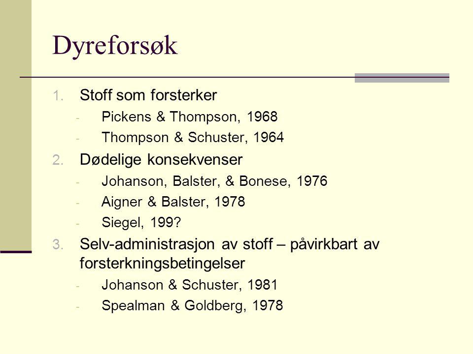 Dyreforsøk 1. Stoff som forsterker - Pickens & Thompson, 1968 - Thompson & Schuster, 1964 2. Dødelige konsekvenser - Johanson, Balster, & Bonese, 1976
