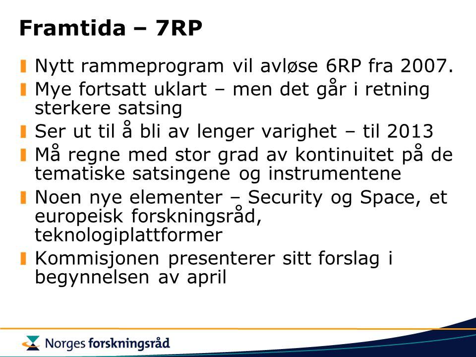 Framtida – 7RP Nytt rammeprogram vil avløse 6RP fra 2007. Mye fortsatt uklart – men det går i retning sterkere satsing Ser ut til å bli av lenger vari