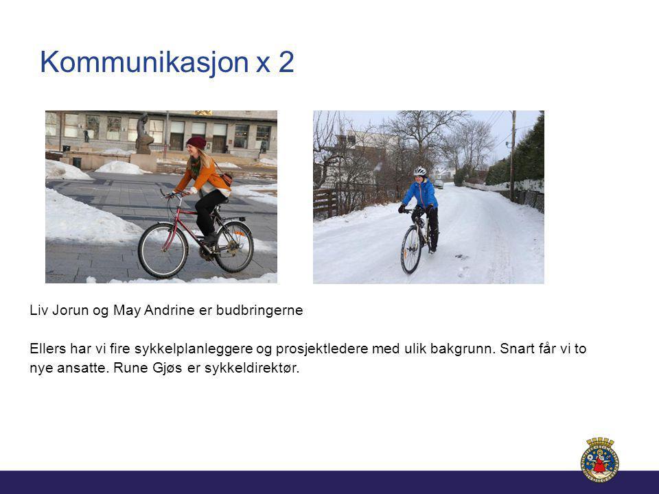 Kommunikasjon x 2 Liv Jorun og May Andrine er budbringerne Ellers har vi fire sykkelplanleggere og prosjektledere med ulik bakgrunn.