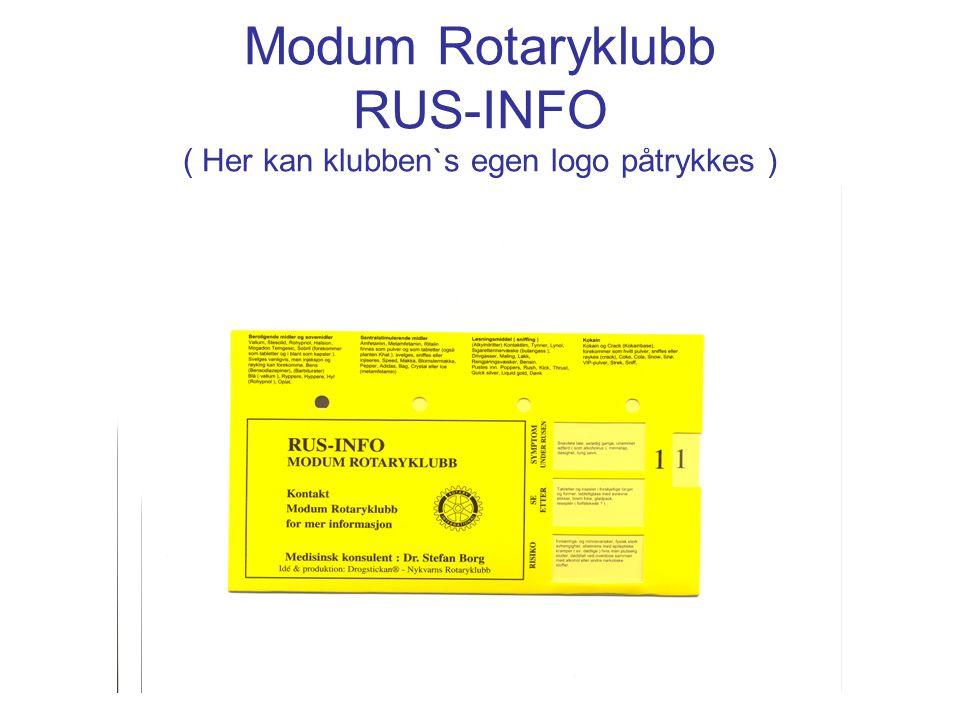 Modum Rotaryklubb RUS-INFO ( Her kan klubben`s egen logo påtrykkes )