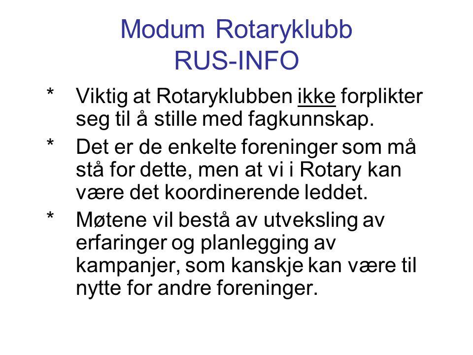 Modum Rotaryklubb RUS-INFO *Viktig at Rotaryklubben ikke forplikter seg til å stille med fagkunnskap. *Det er de enkelte foreninger som må stå for det
