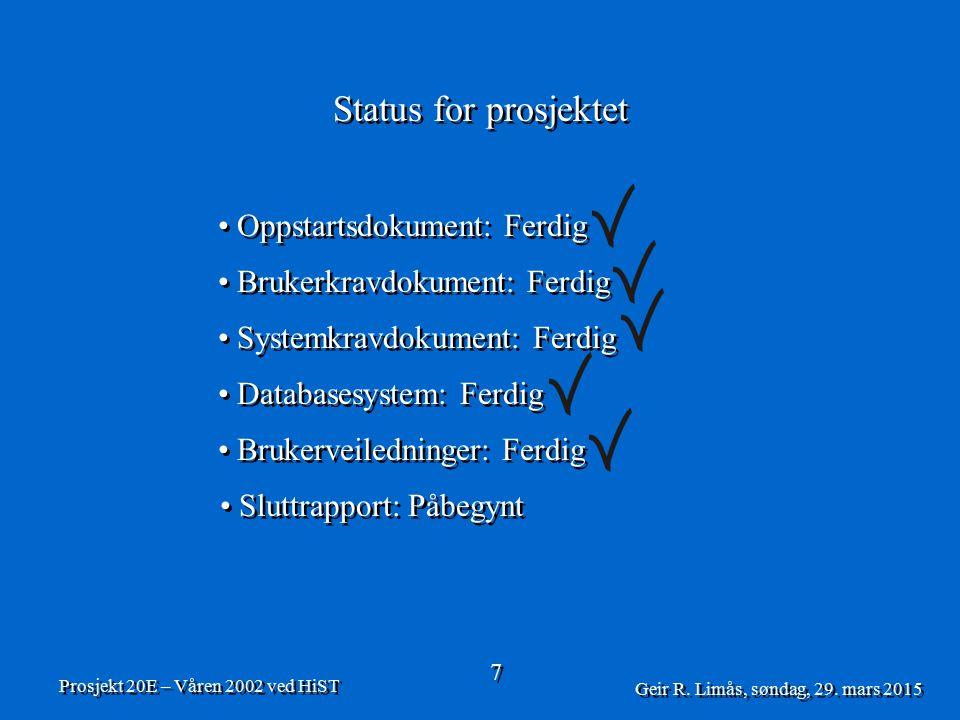 Status for prosjektet 7 7 Prosjekt 20E – Våren 2002 ved HiST Geir R.