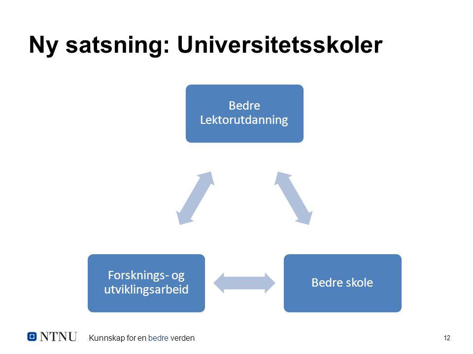 Kunnskap for en bedre verden 12 Ny satsning: Universitetsskoler Bedre Lektorutdanning Bedre skole Forsknings- og utviklingsarbeid