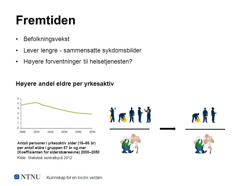 Kunnskap for en bedre verden Befolkningsvekst Lever lengre - sammensatte sykdomsbilder Høyere forventninger til helsetjenesten.