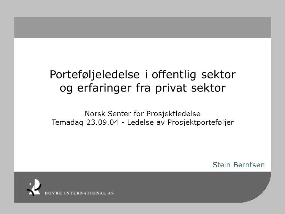 Porteføljeledelse i offentlig sektor og erfaringer fra privat sektor Norsk Senter for Prosjektledelse Temadag 23.09.04 - Ledelse av Prosjektportefølje