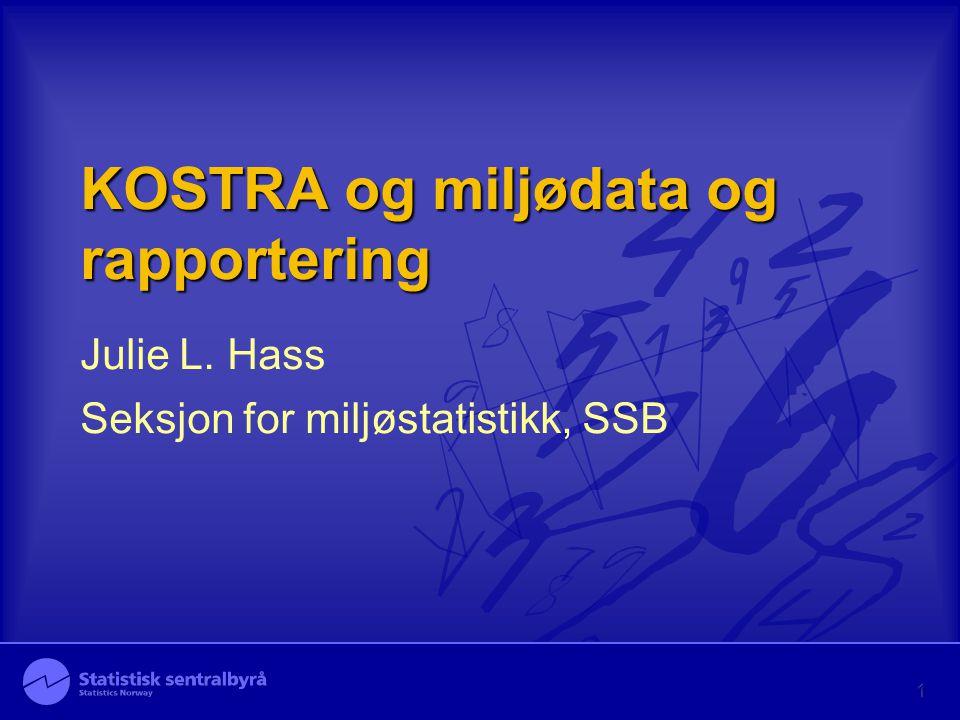 KOSTRA og miljødata og rapportering Julie L. Hass Seksjon for miljøstatistikk, SSB