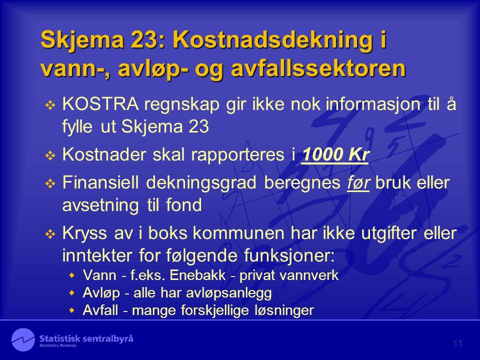 11 Skjema 23: Kostnadsdekning i vann-, avløp- og avfallssektoren  KOSTRA regnskap gir ikke nok informasjon til å fylle ut Skjema 23  Kostnader skal