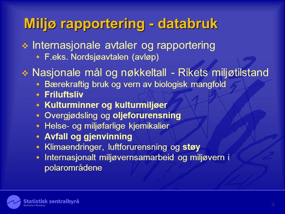 2 Miljø rapportering - databruk  Internasjonale avtaler og rapportering  F.eks. Nordsjøavtalen (avløp)  Nasjonale mål og nøkkeltall - Rikets miljøt