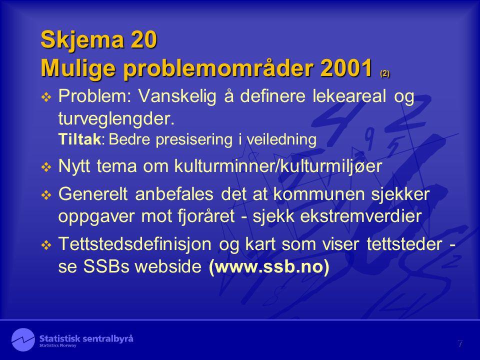 7 Skjema 20 Mulige problemområder 2001 (2)  Problem: Vanskelig å definere lekeareal og turveglengder. Tiltak: Bedre presisering i veiledning  Nytt t