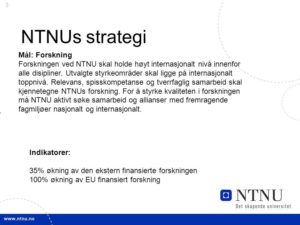 3 NTNUs strategi Mål: Forskning Forskningen ved NTNU skal holde høyt internasjonalt nivå innenfor alle disipliner.