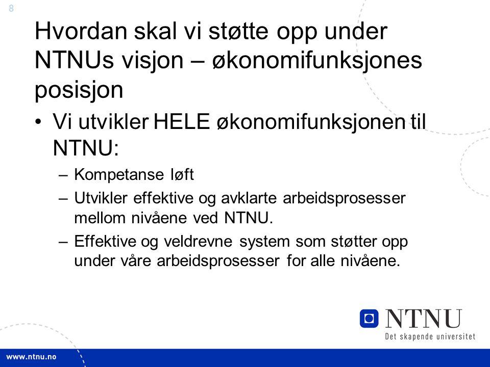 8 Hvordan skal vi støtte opp under NTNUs visjon – økonomifunksjones posisjon Vi utvikler HELE økonomifunksjonen til NTNU: –Kompetanse løft –Utvikler effektive og avklarte arbeidsprosesser mellom nivåene ved NTNU.