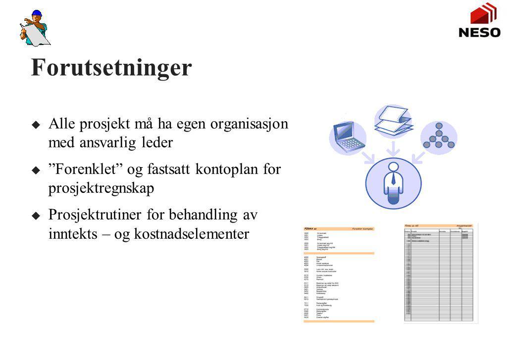 Startprognose (Budsjett) u Anleggsleder / ptosjektleder utarbeider startprognose før oppstart på prosjektet. u Startprognosen utarbeides med bakgrunn