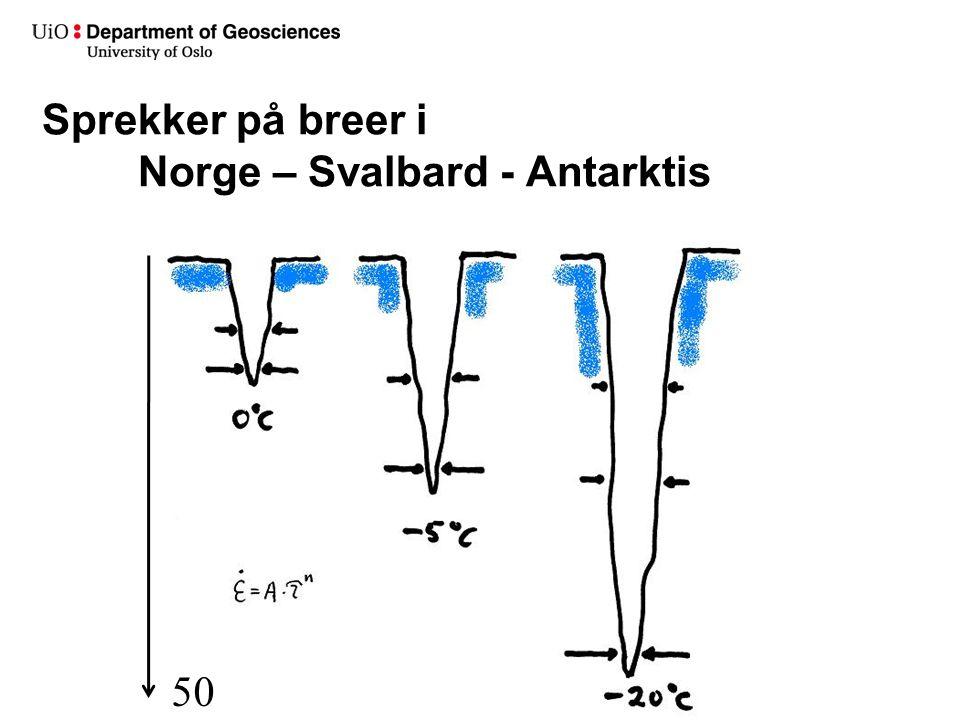 50 m Sprekker på breer i Norge – Svalbard - Antarktis