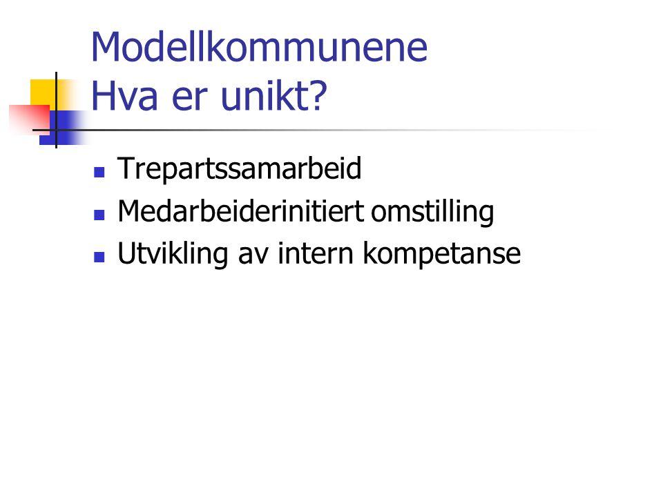 Modellkommunene Hva er unikt? Trepartssamarbeid Medarbeiderinitiert omstilling Utvikling av intern kompetanse