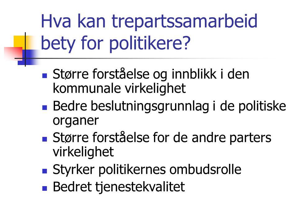 Hva kan trepartssamarbeid bety for politikere? Større forståelse og innblikk i den kommunale virkelighet Bedre beslutningsgrunnlag i de politiske orga