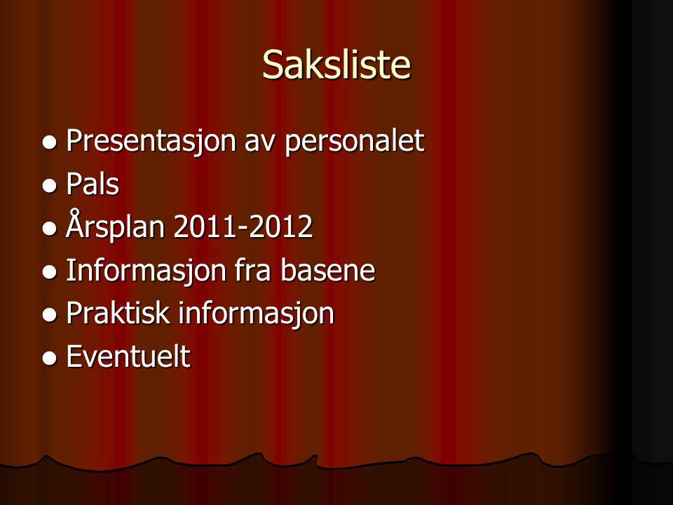 Saksliste Presentasjon av personalet Presentasjon av personalet Pals Pals Årsplan 2011-2012 Årsplan 2011-2012 Informasjon fra basene Informasjon fra b