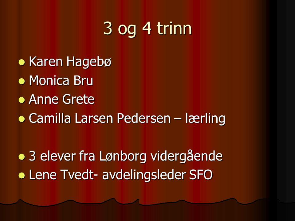 3 og 4 trinn Karen Hagebø Karen Hagebø Monica Bru Monica Bru Anne Grete Anne Grete Camilla Larsen Pedersen – lærling Camilla Larsen Pedersen – lærling
