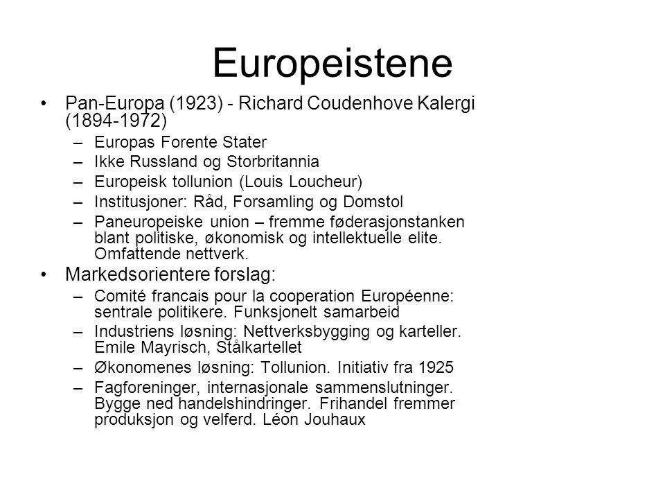 Europeistene Pan-Europa (1923) - Richard Coudenhove Kalergi (1894-1972) –Europas Forente Stater –Ikke Russland og Storbritannia –Europeisk tollunion (Louis Loucheur) –Institusjoner: Råd, Forsamling og Domstol –Paneuropeiske union – fremme føderasjonstanken blant politiske, økonomisk og intellektuelle elite.