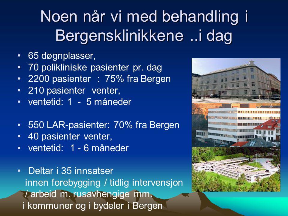 Noen når vi med behandling i Bergensklinikkene..i dag 65 døgnplasser, 70 polikliniske pasienter pr.