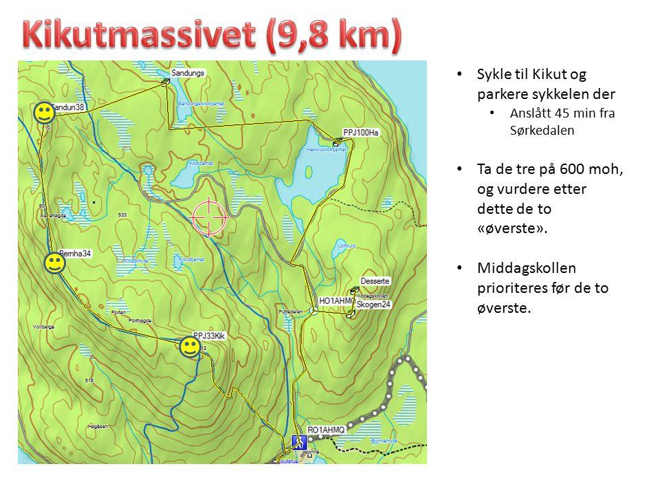 Sykle til Kikut og parkere sykkelen der Anslått 45 min fra Sørkedalen Ta de tre på 600 moh, og vurdere etter dette de to «øverste». Middagskollen prio