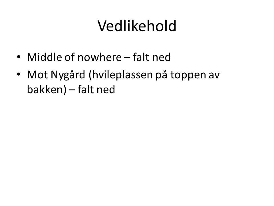 Vedlikehold Middle of nowhere – falt ned Mot Nygård (hvileplassen på toppen av bakken) – falt ned